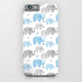 Blue Gray Elephant Baby Boy Nursery iPhone Case