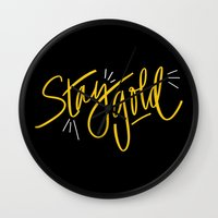 stay gold Wall Clocks featuring Stay Gold by Chelsea Herrick