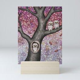 enchanted owls, moths, stars Mini Art Print