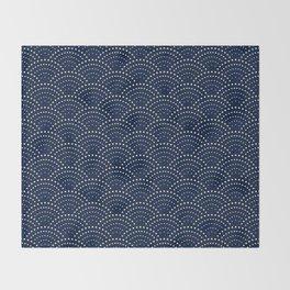 Japanese Blue Wave Seigaiha Indigo Super Moon Pattern Throw Blanket