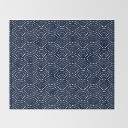 Japanese Blue Wave Seigaiha Indigo Super Moon Pattern Decke