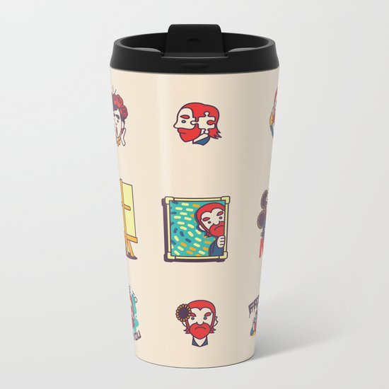 Van Gogh Stickers Metal Travel Mug