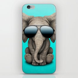 Cute Baby Elephant Wearing Sunglasses iPhone Skin