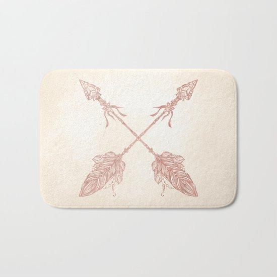Tribal Arrows Rose Gold on Paper Bath Mat