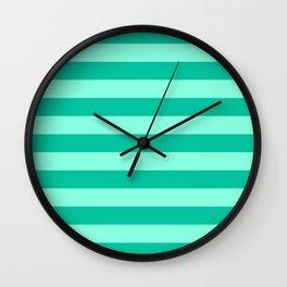 Teal and Aqua Mint Stripes Wall Clock
