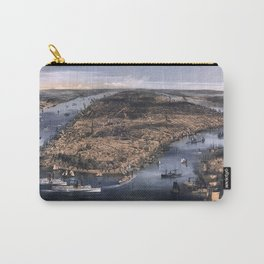NEW YORK NYC city old map Father Day art print poster Carry-All Pouch