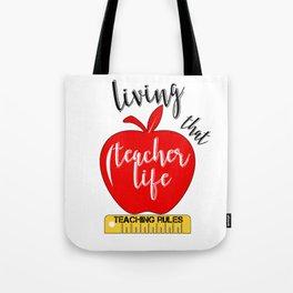 Teacher Life Teaching Rules School Funny Lesson Preschool Kindergarten Tote Bag