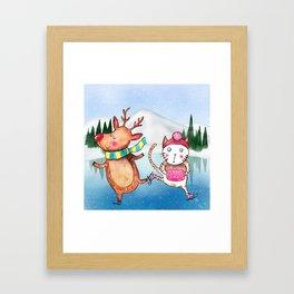 Cat and Reindeer go ice skating Framed Art Print