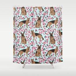 German Shepherd cherry blossom dog breeds florals pet friendly dog patterns Shower Curtain