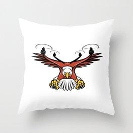 Half Eagle Half Drone Swooping Mascot Throw Pillow