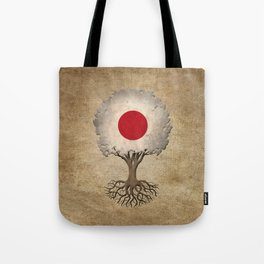 Vintage Tree of Life with Flag of Japan Tote Bag