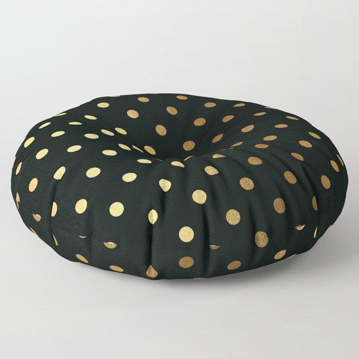 Gold polka dots on black pattern Floor Pillow