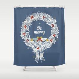Christmas wreath with birds Shower Curtain