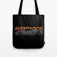lamborghini Tote Bags featuring Lamborghini Aventador by Vehicle