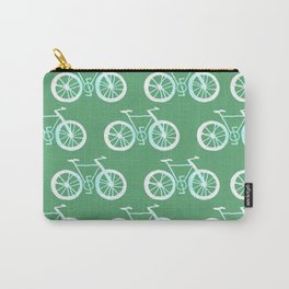 Bike Pattern White and Green Carry-All Pouch