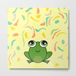Cute frog looking up Metal Print