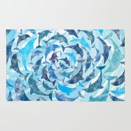 Water color dolphins Rug