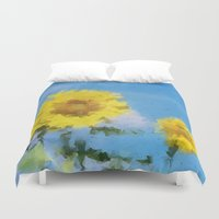 sunflowers Duvet Covers featuring Sunflowers by Paul Kimble