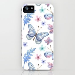 Colorful Butterfly Watercolor Seamless Pattern iPhone Case