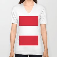 peru V-neck T-shirts featuring Flag of Peru by Neville Hawkins