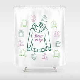 Knitters Are Tops - Plummy Shower Curtain
