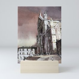 Basilica of Santa Croce at sunset in medieval city of Florence, Italy.   Church of Santa Croce, Florence Italy  Mini Art Print