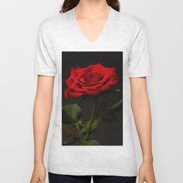 Portrait of a red rose Unisex V-Neck