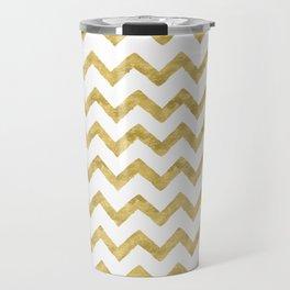 Chevron Gold And White Travel Mug