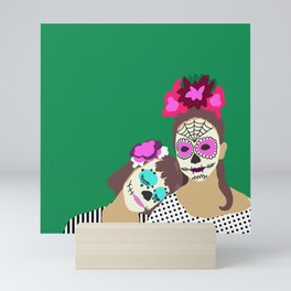 Sugar Skull Halloween Girls Green Mini Art Print