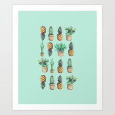 cactus and pineapples blue  Art Print