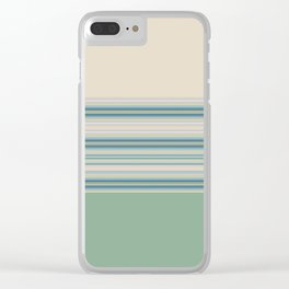 Mint Green Cream Stripes Clear iPhone Case