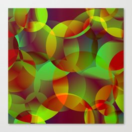 Vector abstract seamless background from space yellow and green bright circles and bubbles for fabri Canvas Print