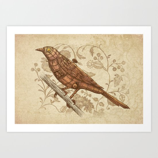 Steampunk Songbird  Art Print