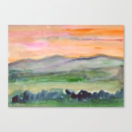 Mountain landscape in the morning fog Canvas Print