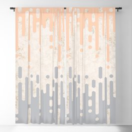 Marble and Geometric Diamond Drips, in Grey and Peach Blackout Curtain
