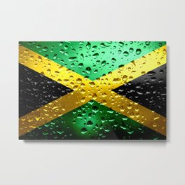 Flag of Jamaica - Raindrops Metal Print