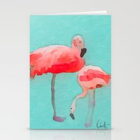 flamingos Stationery Cards featuring Flamingos  by Xchange Art Studio