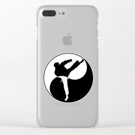 Taekwondo Kick design - Martial Art Yin Yang graphic Clear iPhone Case