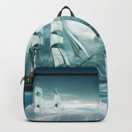 Blue Ocean Ship Storm Clouds Backpack