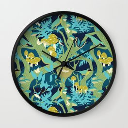 North American Forest Pattern (Greens) Wall Clock
