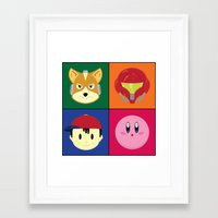smash bros Framed Art Prints featuring SMASH BROS by Nearly Headless