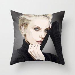 """Charlize Theron """"Rotoscoping"""" Throw Pillow"""