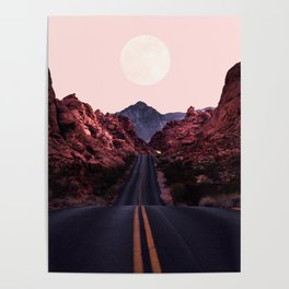 Road Red Moonrise Poster