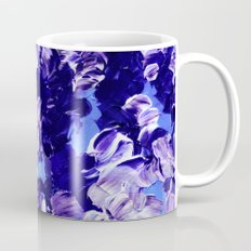 FLORAL FANTASY 2 Bold  Blue Lavender Purple Abstract Flowers Acrylic Textural Painting Garden Art Mug