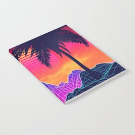 Neon glowing grid rocks and palm trees, futuristic landscape design Notebook
