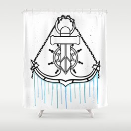 Anchor and Steering Helm [Watercolor] Shower Curtain