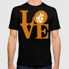 Robot LOVE - Orange MEDIUM Black Mens Fitted Tee
