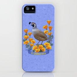 California State Bird Quail and Golden Poppy iPhone Case