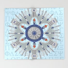 Ancient Greece Themed Mandala Throw Blanket