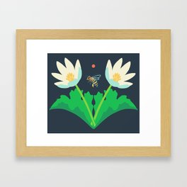 Honey Bee + Bloodroot Framed Art Print